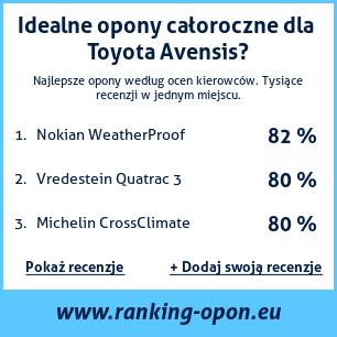 Opony Całoroczne Toyota Avensis Ranking Oponeu
